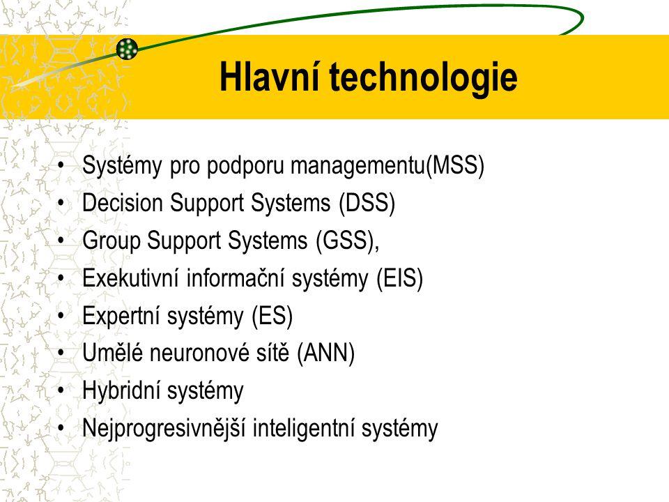 Bližší charakteristika EIS a DSS EIS (Executive Information System), Pro vrcholové vedení jsou určeny nástroje a aplikace charakteru které poskytují v