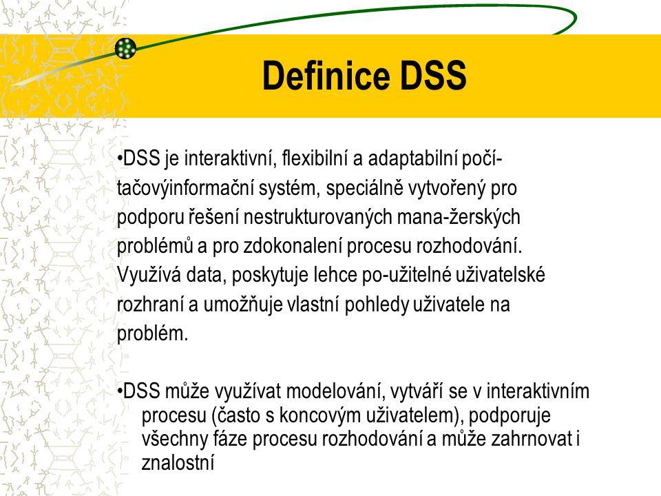 Definice systémů na podporu rozhodování (DSS) Scott Morton [1971] DSS jsou interaktivní počítačové systémy, které pomáhají rozhodovacím subjektům využ