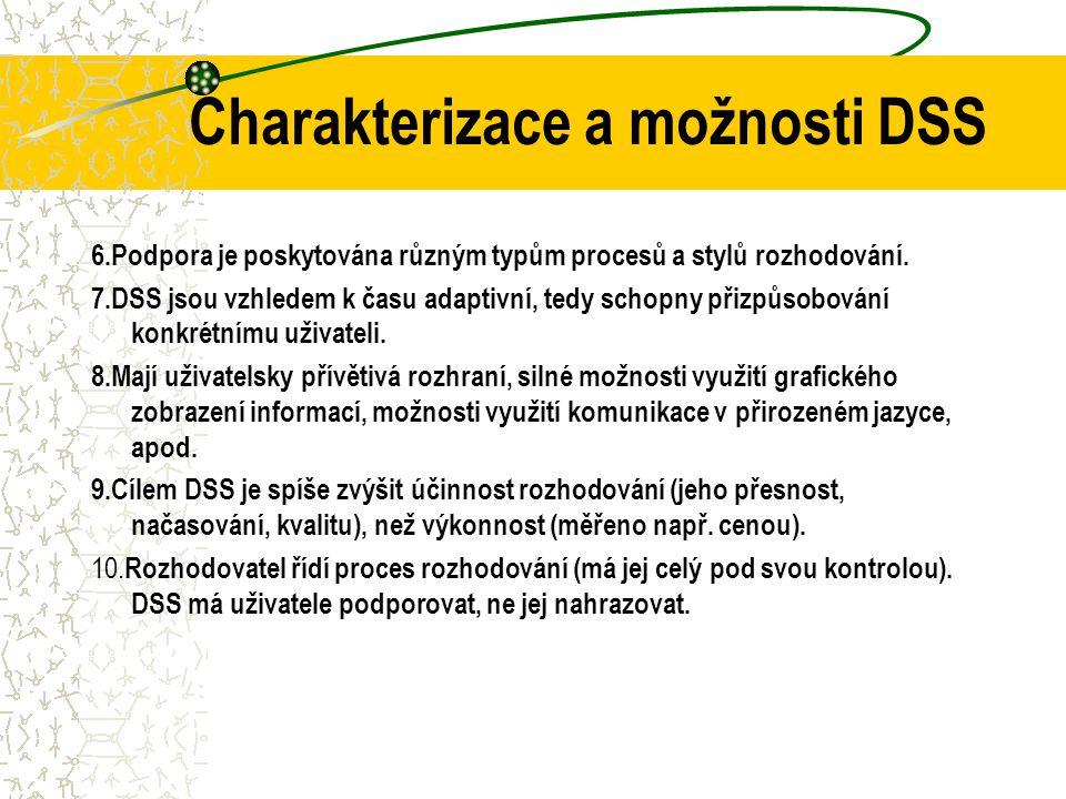 Charakterizace a možnosti DSS 2.Podpora je poskytována na různých úrovních managementu, od vrcholového po operativní management. 3.Podpora je poskytov