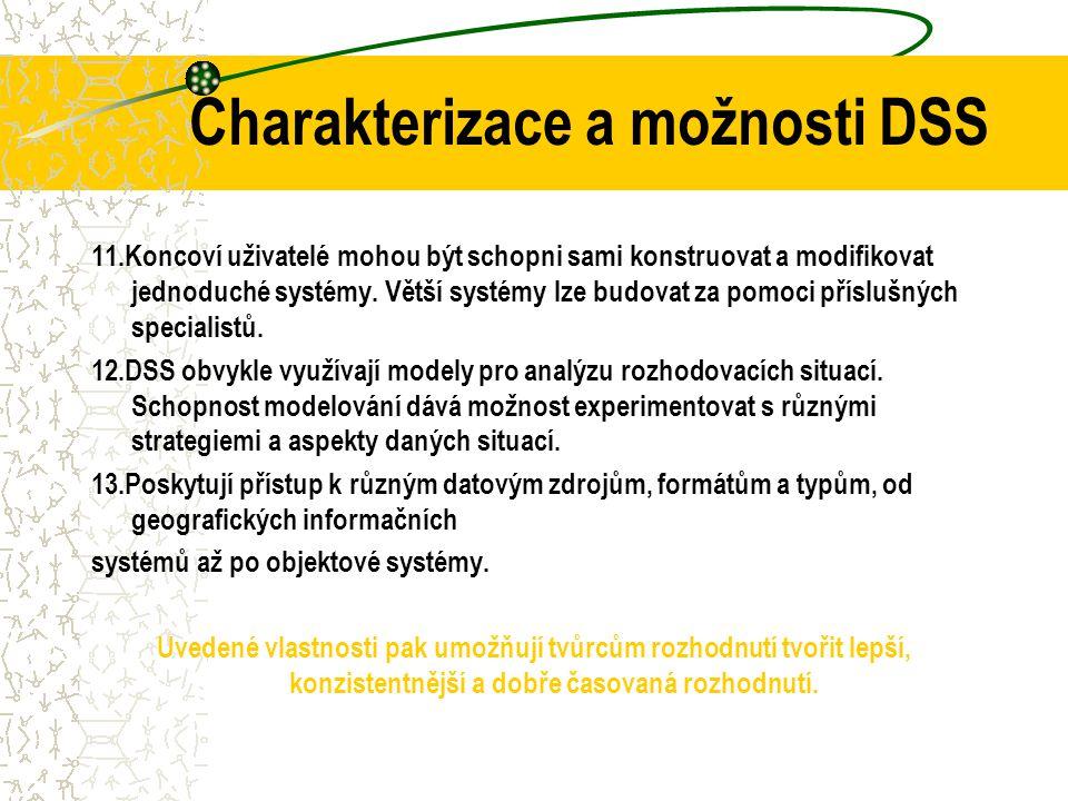 Charakterizace a možnosti DSS 6.Podpora je poskytována různým typům procesů a stylů rozhodování. 7.DSS jsou vzhledem k času adaptivní, tedy schopny př
