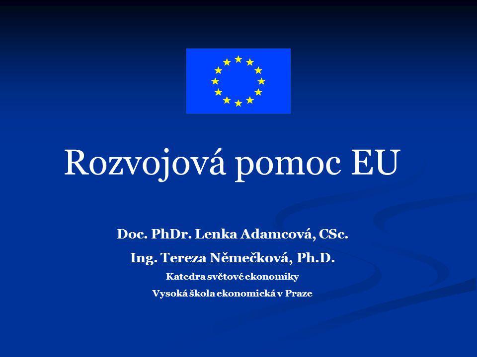 Obsah přednášky Základní termíny a kategorie Základní termíny a kategorie EU jako největší poskytovatel rozvojové pomoci na světě EU jako největší poskytovatel rozvojové pomoci na světě Historie rozvojové pomoci/spolupráce EHS/EU s rozvojovými zeměmi Historie rozvojové pomoci/spolupráce EHS/EU s rozvojovými zeměmi Měnící se přístup EU k rozvojovým zemím Měnící se přístup EU k rozvojovým zemím Nástroje a zdroje financování rozvojové pomoci EU Nástroje a zdroje financování rozvojové pomoci EU Výzvy do budoucna Výzvy do budoucna