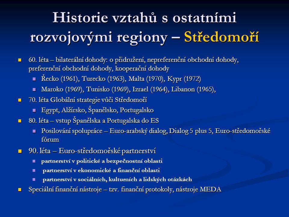 Historie vztahů s ostatními rozvojovými regiony – Středomoří 60.