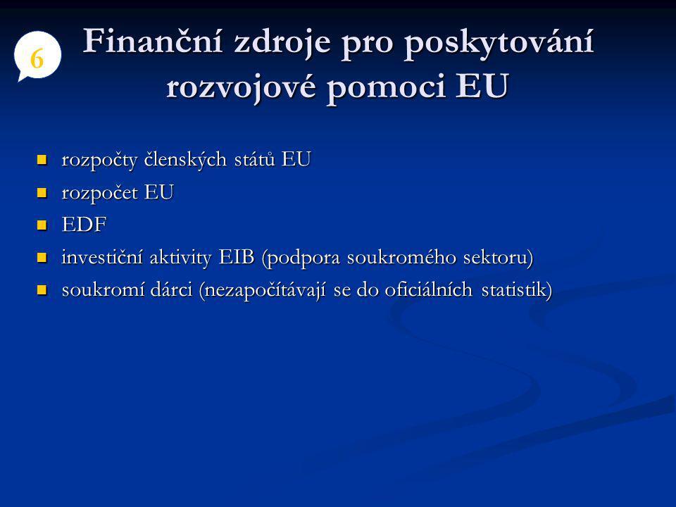 Finanční zdroje pro poskytování rozvojové pomoci EU rozpočty členských států EU rozpočty členských států EU rozpočet EU rozpočet EU EDF EDF investiční aktivity EIB (podpora soukromého sektoru) investiční aktivity EIB (podpora soukromého sektoru) soukromí dárci (nezapočítávají se do oficiálních statistik) soukromí dárci (nezapočítávají se do oficiálních statistik) 6