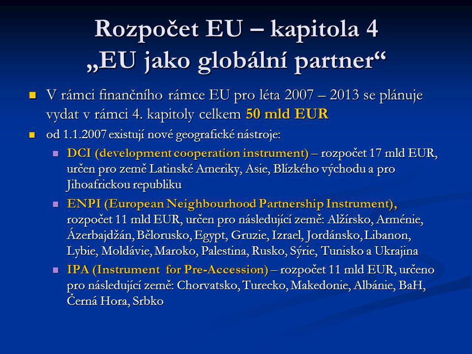 """Rozpočet EU – kapitola 4 """"EU jako globální partner V rámci finančního rámce EU pro léta 2007 – 2013 se plánuje vydat v rámci 4."""