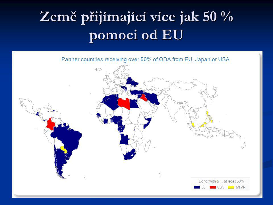 Země přijímající více jak 50 % pomoci od EU