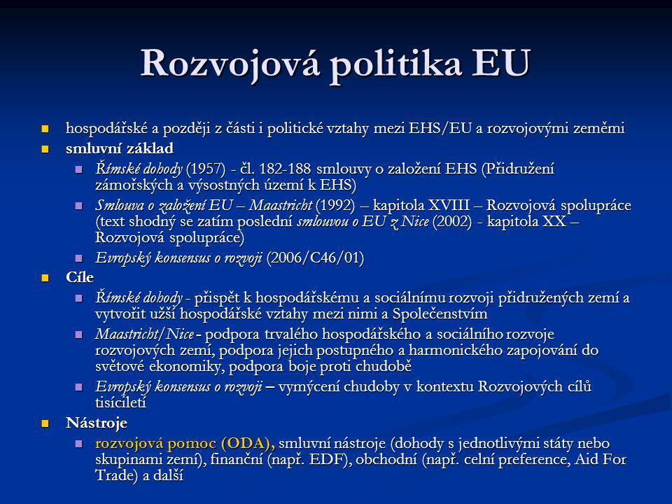 """Rozvojová pomoc EU jeden z nástrojů rozvojové politiky EU jeden z nástrojů rozvojové politiky EU objem finančních prostředků klasifikovaných podle směrnice OECD jako """"rozvojová pomoc (ODA) poskytovaných členskými státy EU a Evropskou komisí (samostatný dárce) objem finančních prostředků klasifikovaných podle směrnice OECD jako """"rozvojová pomoc (ODA) poskytovaných členskými státy EU a Evropskou komisí (samostatný dárce) pomoc EU má řadu podob (potravinová pomoc, Aid for Trade, infrastrukturální pomoc, oddlužování a další) pomoc EU má řadu podob (potravinová pomoc, Aid for Trade, infrastrukturální pomoc, oddlužování a další) je dána smluvním základem nebo strategiemi spolupráce zemí EU s jednotlivými regiony (vychází z rozvojové politiky EU) je dána smluvním základem nebo strategiemi spolupráce zemí EU s jednotlivými regiony (vychází z rozvojové politiky EU)"""