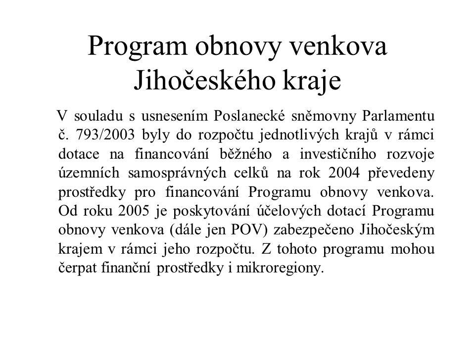 Program obnovy venkova Jihočeského kraje V souladu s usnesením Poslanecké sněmovny Parlamentu č.