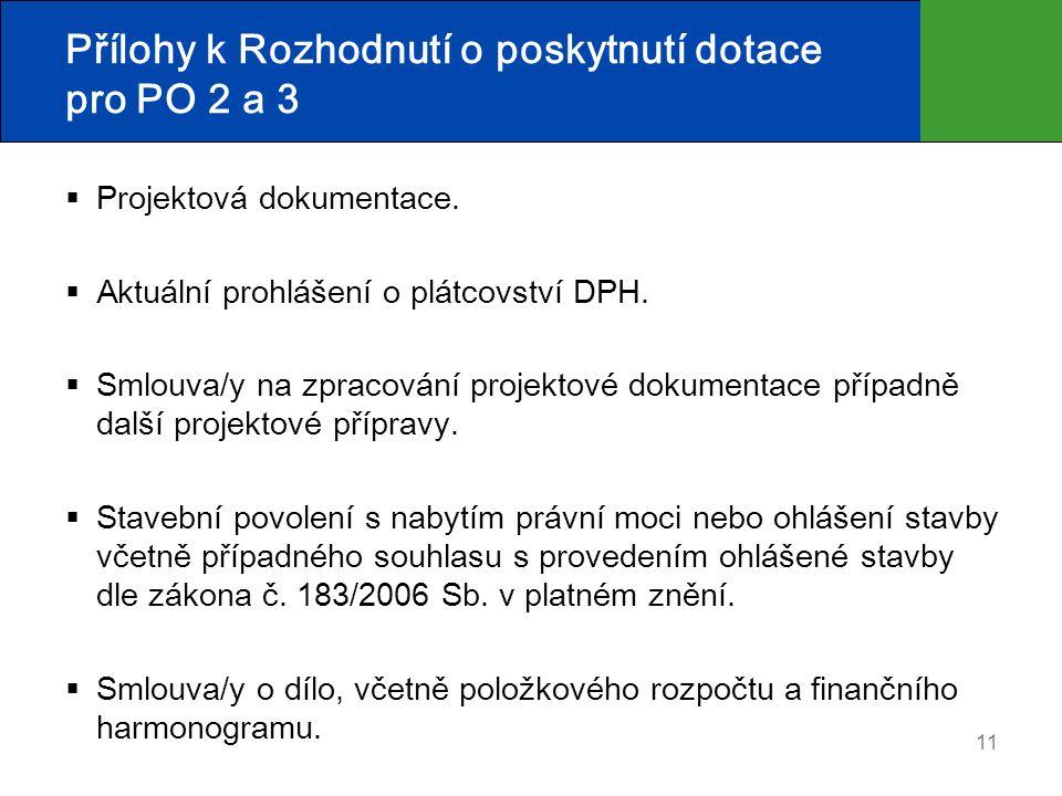 11 Přílohy k Rozhodnutí o poskytnutí dotace pro PO 2 a 3  Projektová dokumentace.  Aktuální prohlášení o plátcovství DPH.  Smlouva/y na zpracování
