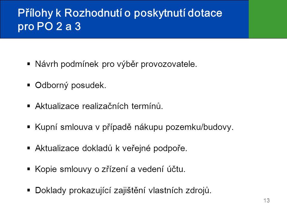 13 Přílohy k Rozhodnutí o poskytnutí dotace pro PO 2 a 3  Návrh podmínek pro výběr provozovatele.  Odborný posudek.  Aktualizace realizačních termí