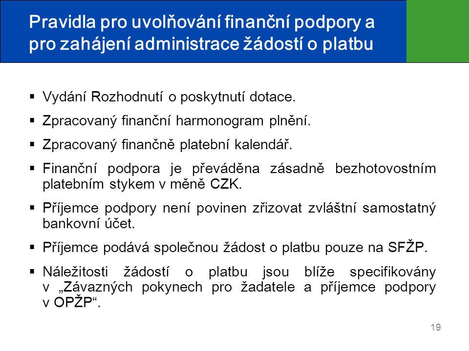 19 Pravidla pro uvolňování finanční podpory a pro zahájení administrace žádostí o platbu  Vydání Rozhodnutí o poskytnutí dotace.  Zpracovaný finančn