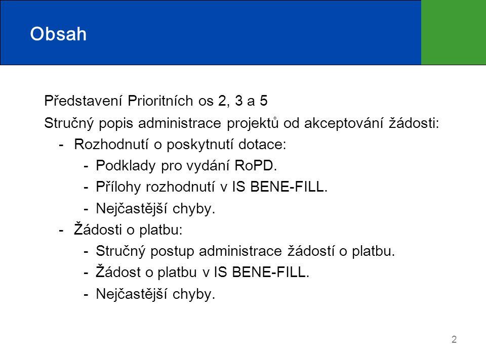 2 Obsah Představení Prioritních os 2, 3 a 5 Stručný popis administrace projektů od akceptování žádosti: Rozhodnutí o poskytnutí dotace: Podklady pro vydání RoPD.