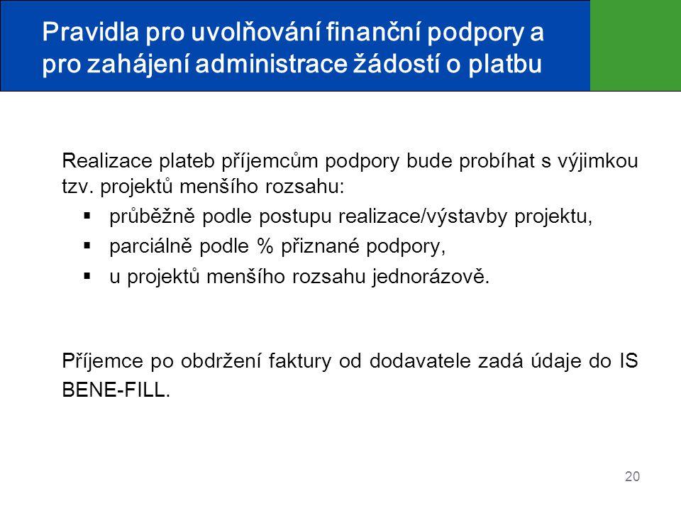 20 Pravidla pro uvolňování finanční podpory a pro zahájení administrace žádostí o platbu Realizace plateb příjemcům podpory bude probíhat s výjimkou tzv.