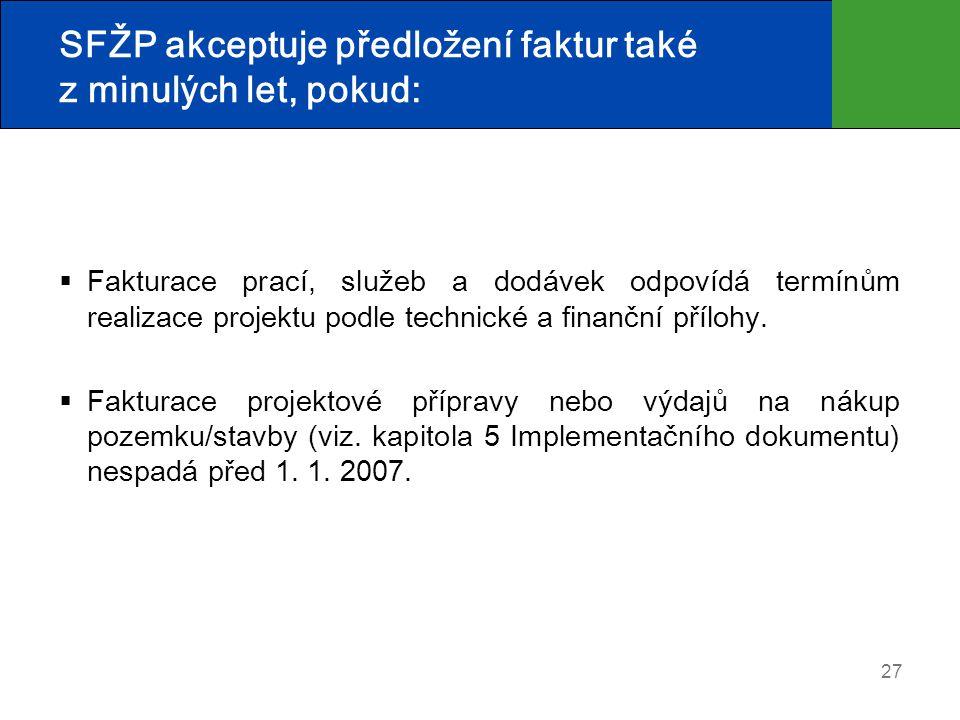 27 SFŽP akceptuje předložení faktur také z minulých let, pokud:  Fakturace prací, služeb a dodávek odpovídá termínům realizace projektu podle technické a finanční přílohy.