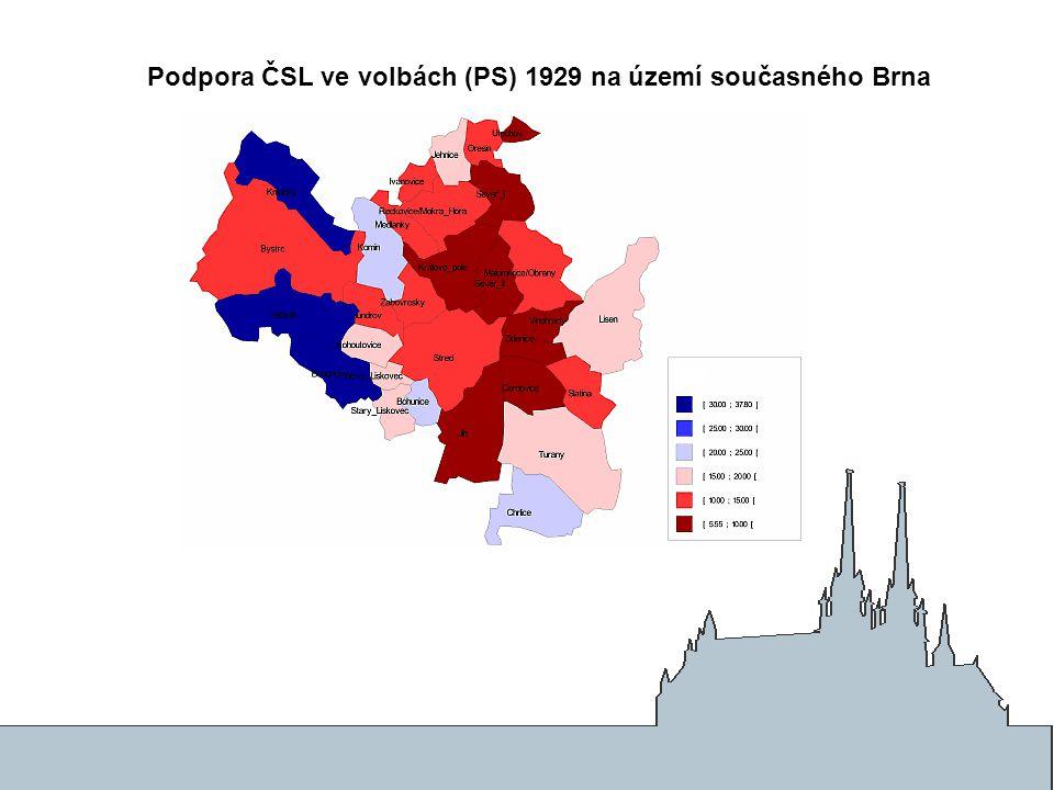 Podpora ČSL ve volbách (PS) 1929 na území současného Brna
