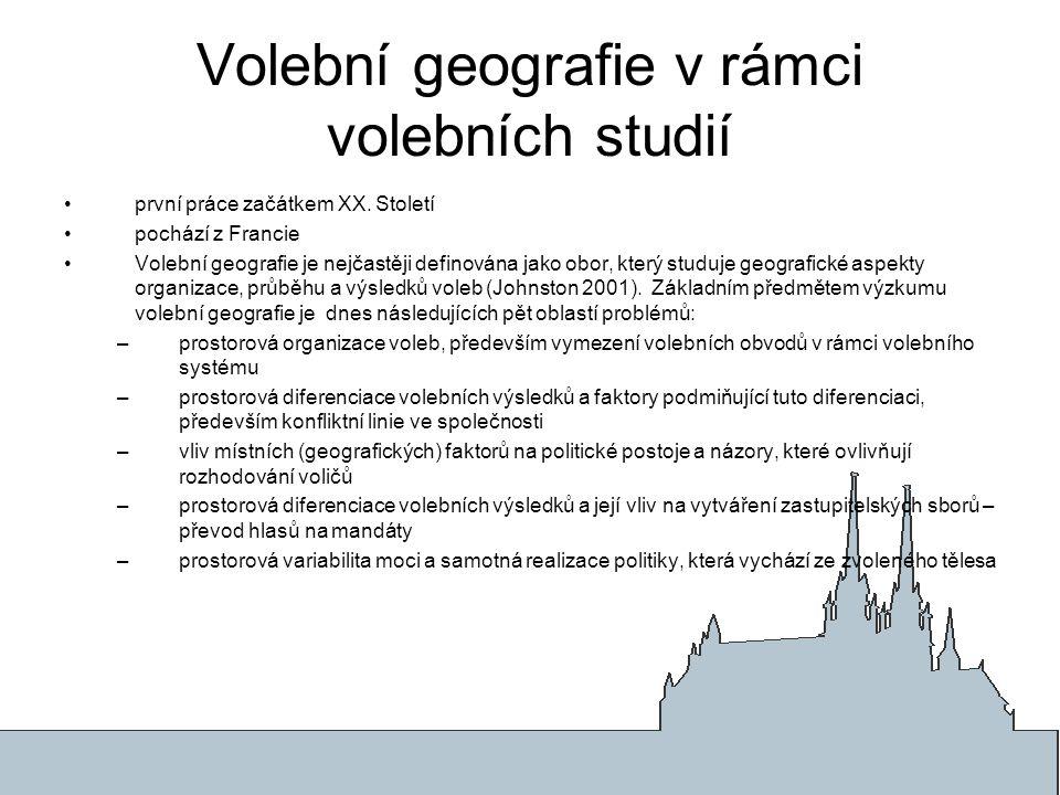 Volební geografie v rámci volebních studií první práce začátkem XX. Století pochází z Francie Volební geografie je nejčastěji definována jako obor, kt