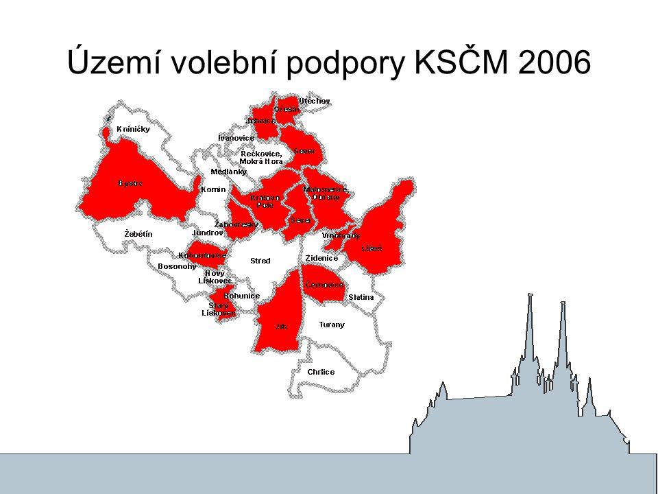 Území volební podpory KSČM 2006