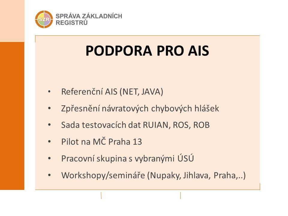 PODPORA PRO AIS Referenční AIS (NET, JAVA) Zpřesnění návratových chybových hlášek Sada testovacích dat RUIAN, ROS, ROB Pilot na MČ Praha 13 Pracovní s