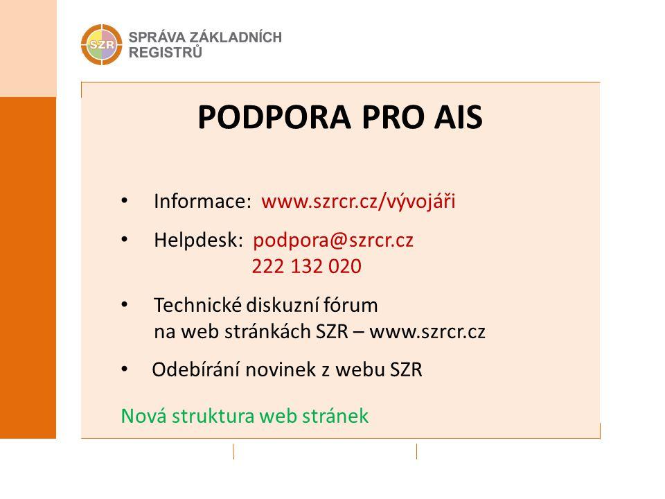 PODPORA PRO AIS Informace: www.szrcr.cz/vývojáři Helpdesk: podpora@szrcr.cz 222 132 020 Technické diskuzní fórum na web stránkách SZR – www.szrcr.cz O