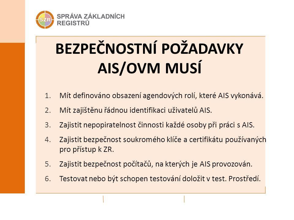 BEZPEČNOSTNÍ POŽADAVKY AIS/OVM MUSÍ 1.Mít definováno obsazení agendových rolí, které AIS vykonává. 2.Mít zajištěnu řádnou identifikaci uživatelů AIS.