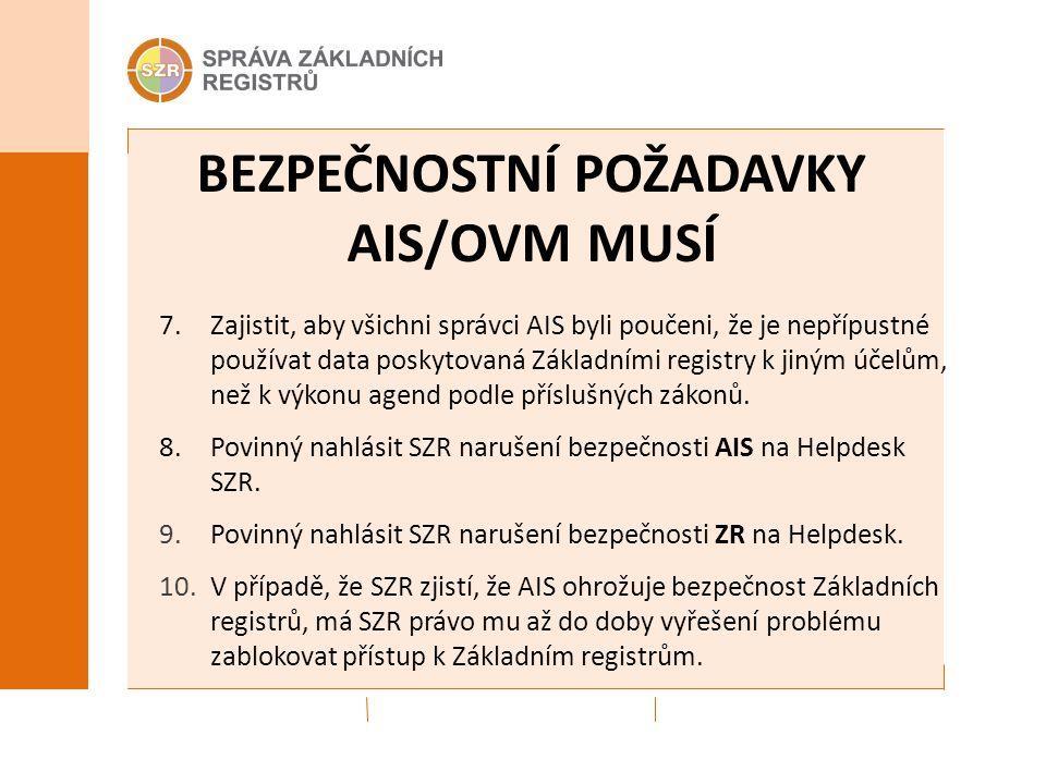 BEZPEČNOSTNÍ POŽADAVKY AIS/OVM MUSÍ 7. Zajistit, aby všichni správci AIS byli poučeni, že je nepřípustné používat data poskytovaná Základními registry