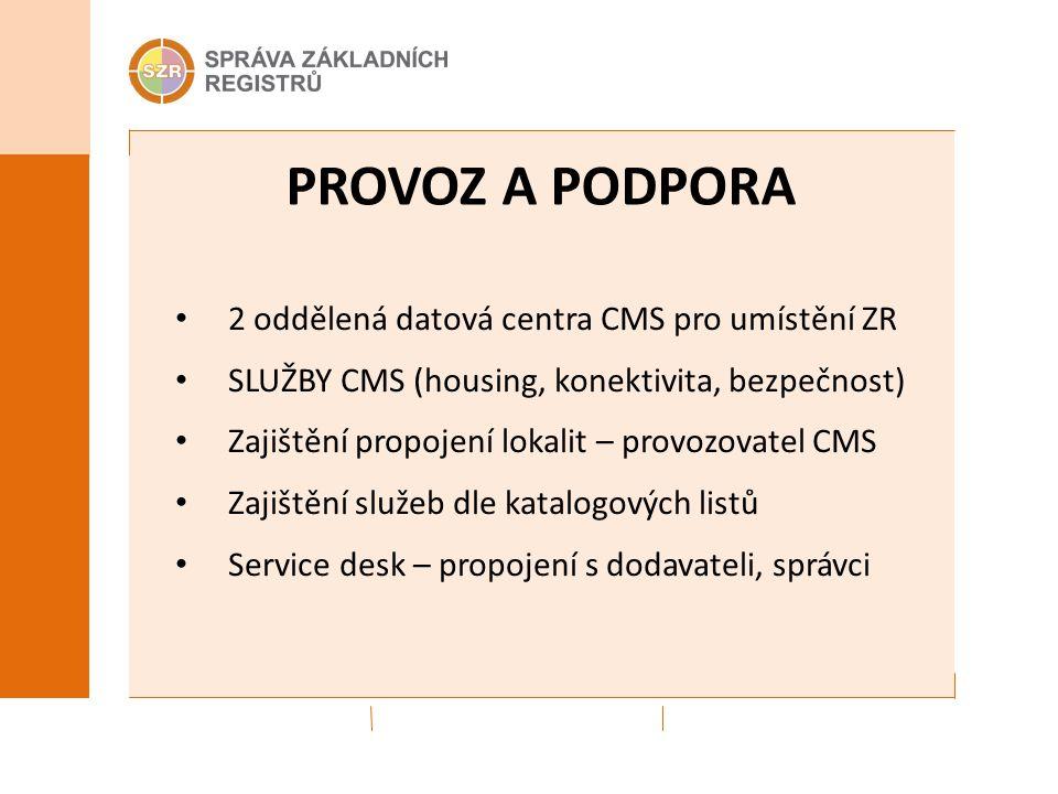 PROVOZ A PODPORA 2 oddělená datová centra CMS pro umístění ZR SLUŽBY CMS (housing, konektivita, bezpečnost) Zajištění propojení lokalit – provozovatel