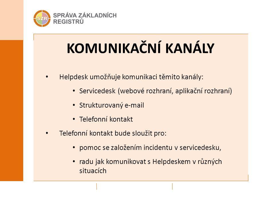 KOMUNIKAČNÍ KANÁLY Helpdesk umožňuje komunikaci těmito kanály: Servicedesk (webové rozhraní, aplikační rozhraní) Strukturovaný e-mail Telefonní kontak