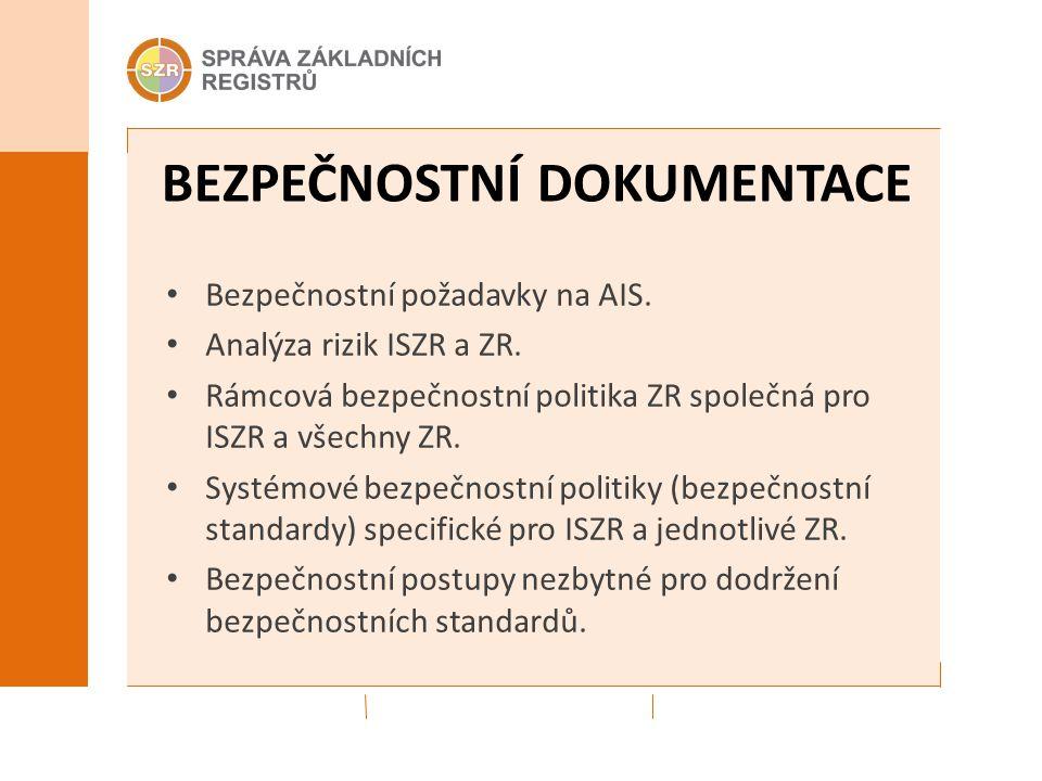 BEZPEČNOSTNÍ DOKUMENTACE Bezpečnostní požadavky na AIS. Analýza rizik ISZR a ZR. Rámcová bezpečnostní politika ZR společná pro ISZR a všechny ZR. Syst