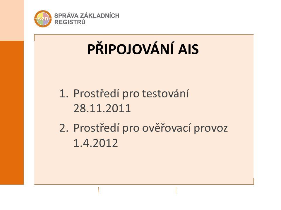 PŘIPOJOVÁNÍ AIS 1.Prostředí pro testování 28.11.2011 2.Prostředí pro ověřovací provoz 1.4.2012