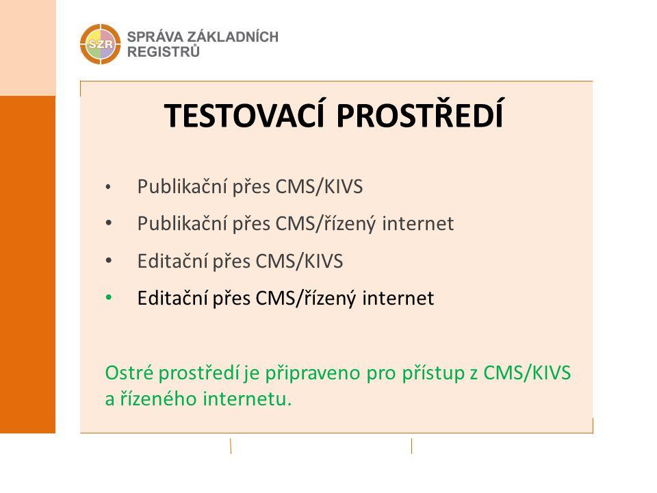 TESTOVACÍ PROSTŘEDÍ Publikační přes CMS/KIVS Publikační přes CMS/řízený internet Editační přes CMS/KIVS Editační přes CMS/řízený internet Ostré prostř