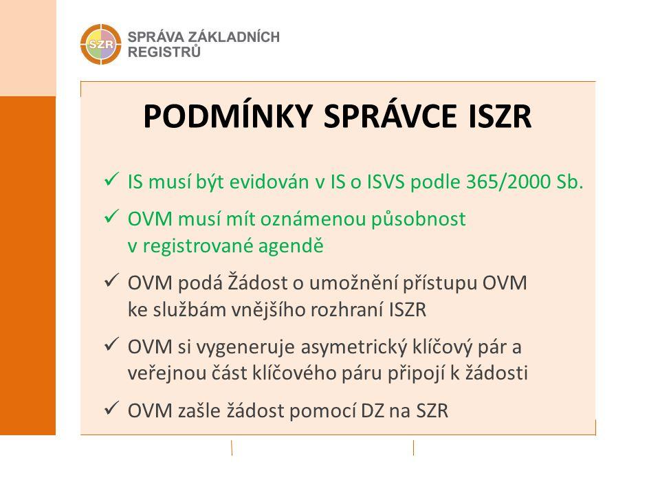 PODMÍNKY SPRÁVCE ISZR IS musí být evidován v IS o ISVS podle 365/2000 Sb. OVM musí mít oznámenou působnost v registrované agendě OVM podá Žádost o umo