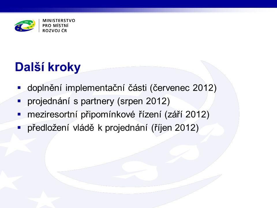 Další kroky  doplnění implementační části (červenec 2012)  projednání s partnery (srpen 2012)  meziresortní připomínkové řízení (září 2012)  předl