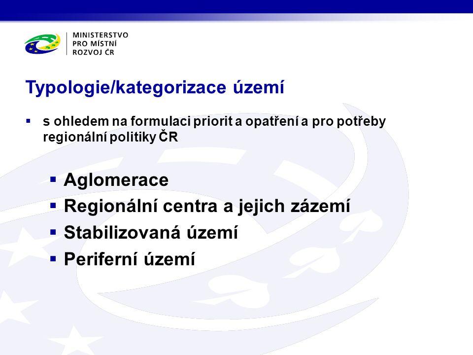 Typologie/kategorizace území  s ohledem na formulaci priorit a opatření a pro potřeby regionální politiky ČR  Aglomerace  Regionální centra a jejic