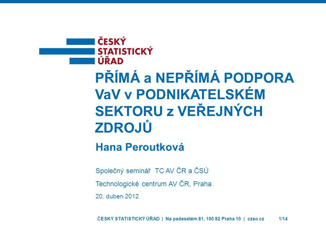 ČESKÝ STATISTICKÝ ÚŘAD | Na padesátém 81, 100 82 Praha 10 | czso.cz12/14 PŘÍMÁ A NEPŘÍMÁ PODPORA VaV PODLE HLAVNÍCH EKONOMICKÝCH ČINNOSTÍ V ROCE 2010 Přímá podpora VaV (mil.