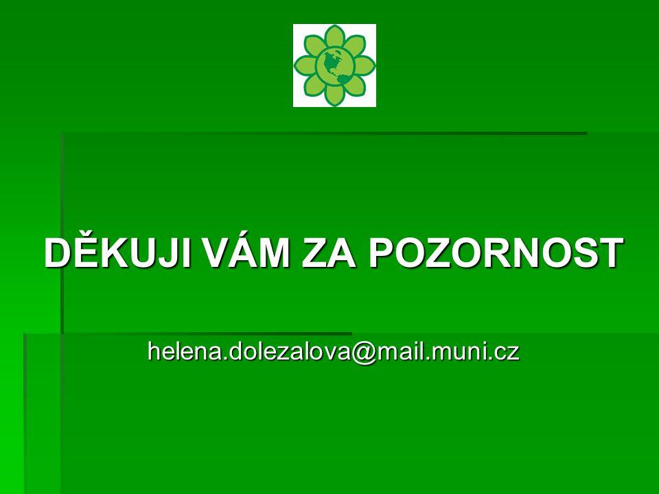 . DĚKUJI VÁM ZA POZORNOST helena.dolezalova@mail.muni.cz