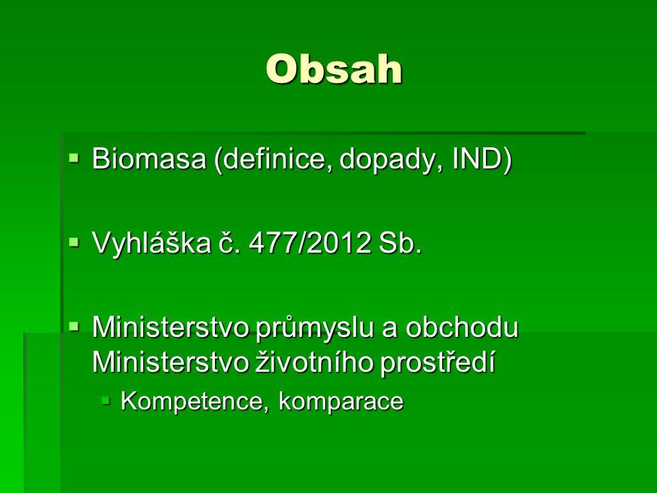 Obsah  Biomasa (definice, dopady, IND)  Vyhláška č. 477/2012 Sb.  Ministerstvo průmyslu a obchodu Ministerstvo životního prostředí  Kompetence, ko