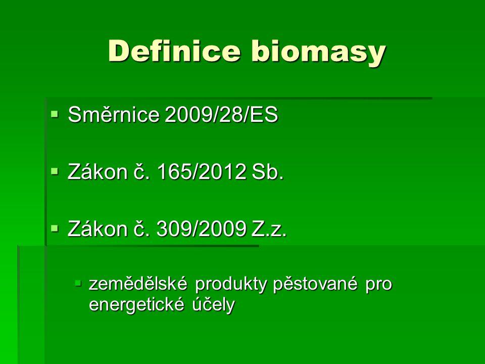 Definice biomasy  Směrnice 2009/28/ES  Zákon č. 165/2012 Sb.  Zákon č. 309/2009 Z.z.  zemědělské produkty pěstované pro energetické účely