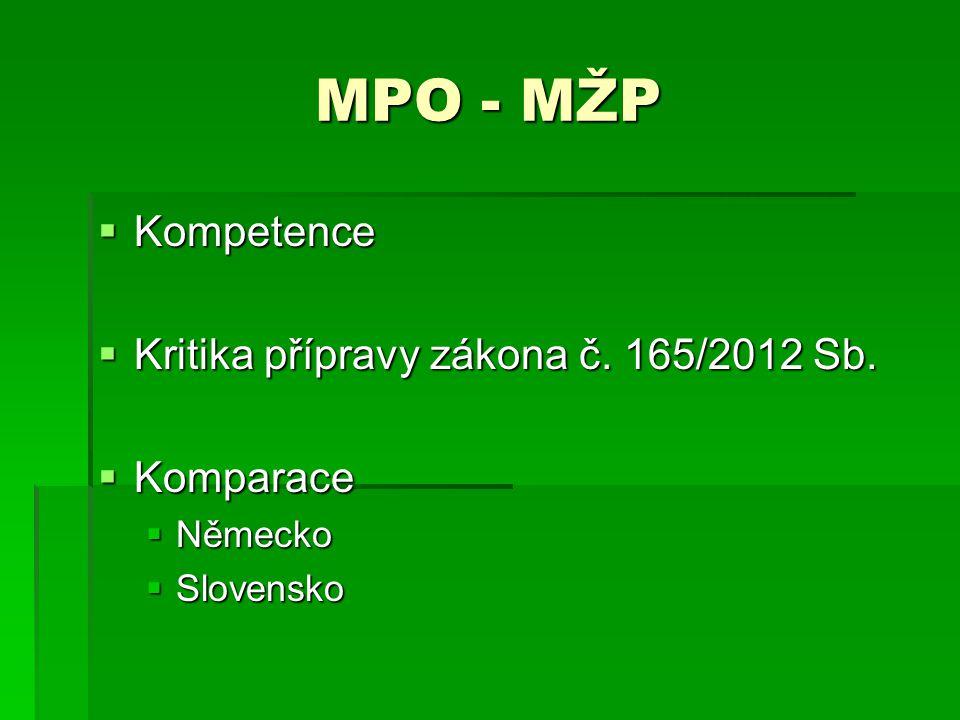 MPO - MŽP  Kompetence  Kritika přípravy zákona č. 165/2012 Sb.  Komparace  Německo  Slovensko