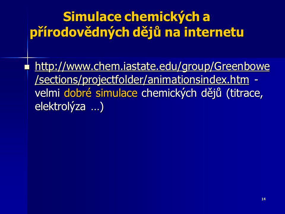 14 Simulace chemických a přírodovědných dějů na internetu http://www.chem.iastate.edu/group/Greenbowe /sections/projectfolder/animationsindex.htm - ve