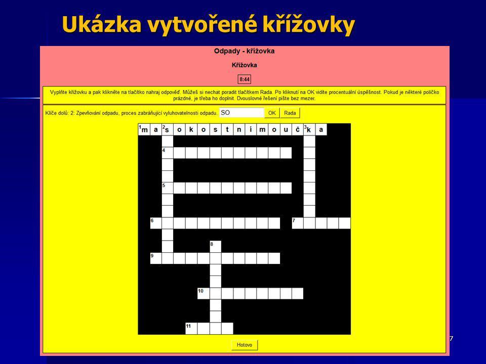 Ukázka vytvořené křížovky tom.burianek@email.cz47