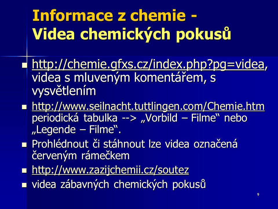 9 Informace z chemie - Videa chemických pokusů http://chemie.gfxs.cz/index.php?pg=videa, videa s mluveným komentářem, s vysvětlením http://chemie.gfxs