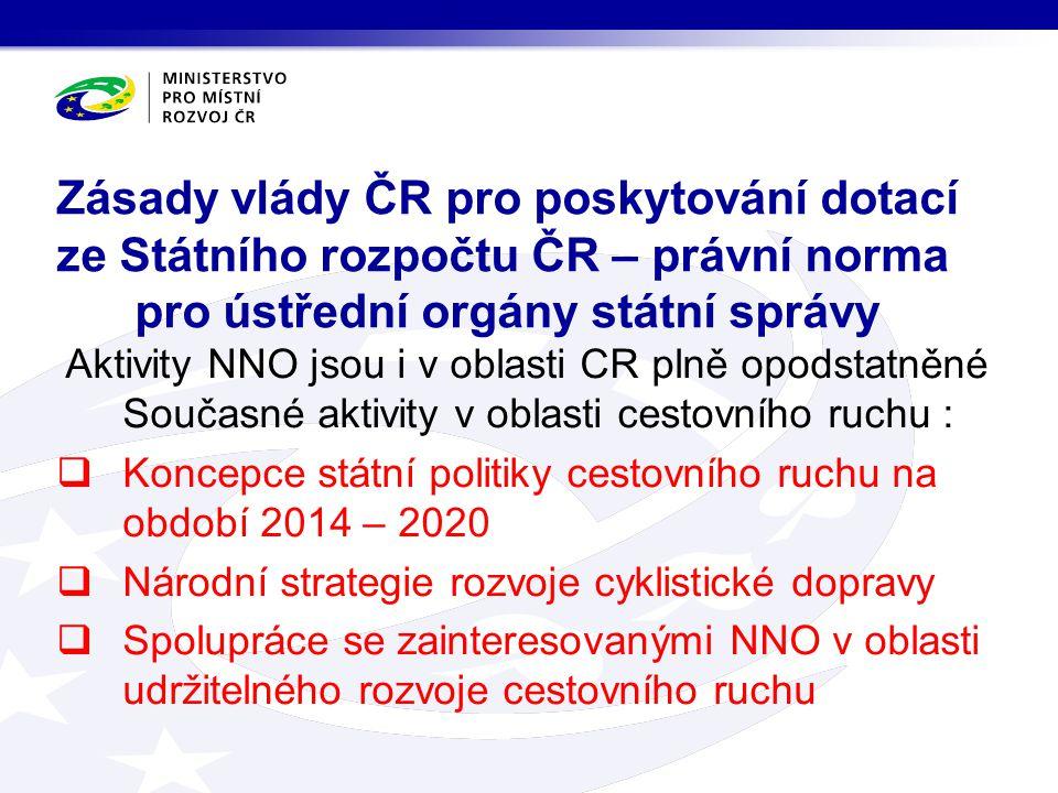 Aktivity NNO jsou i v oblasti CR plně opodstatněné Současné aktivity v oblasti cestovního ruchu :  Koncepce státní politiky cestovního ruchu na obdob