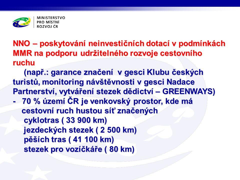 NNO – poskytování neinvestičních dotací v podmínkách MMR na podporu udržitelného rozvoje cestovního ruchu (např.: garance značení v gesci Klubu českýc