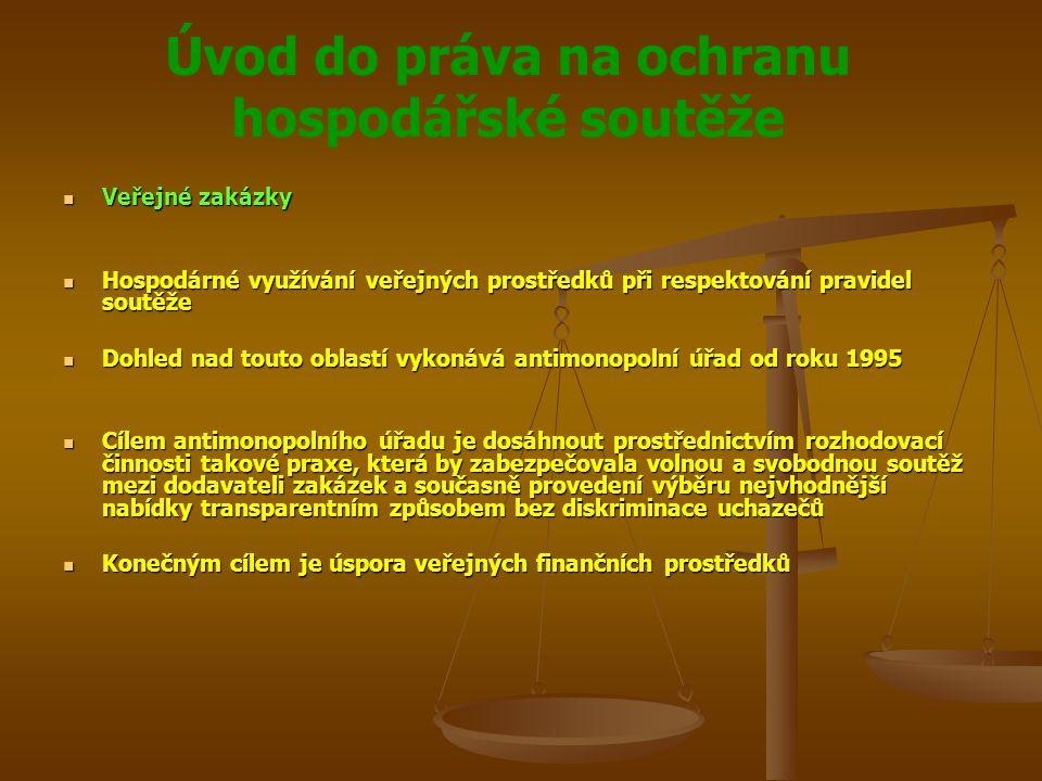 Úvod do práva na ochranu hospodářské soutěže Veřejné zakázky Veřejné zakázky Hospodárné využívání veřejných prostředků při respektování pravidel soutě