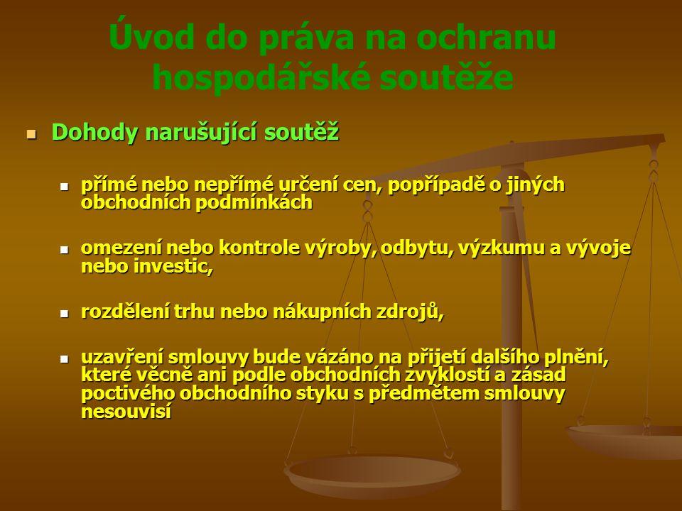 Úvod do práva na ochranu hospodářské soutěže Veřejná podpora Veřejná podpora Obecný zákaz veřejných podpor a slučitelnost jejich poskytnutí je vázána pouze na mimořádné situace Obecný zákaz veřejných podpor a slučitelnost jejich poskytnutí je vázána pouze na mimořádné situace Antimonopolní úřad rozhodoval o slučitelnosti veřejných podpor poskytovaných Českou republikou s komunitárním právem do 1.5.2004 Antimonopolní úřad rozhodoval o slučitelnosti veřejných podpor poskytovaných Českou republikou s komunitárním právem do 1.5.2004