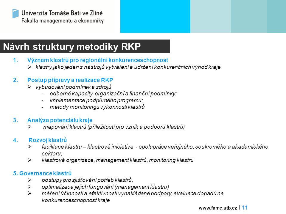 Návrh struktury metodiky RKP 1.Význam klastrů pro regionální konkurenceschopnost  klastry jako jeden z nástrojů vytváření a udržení konkurenčních výh