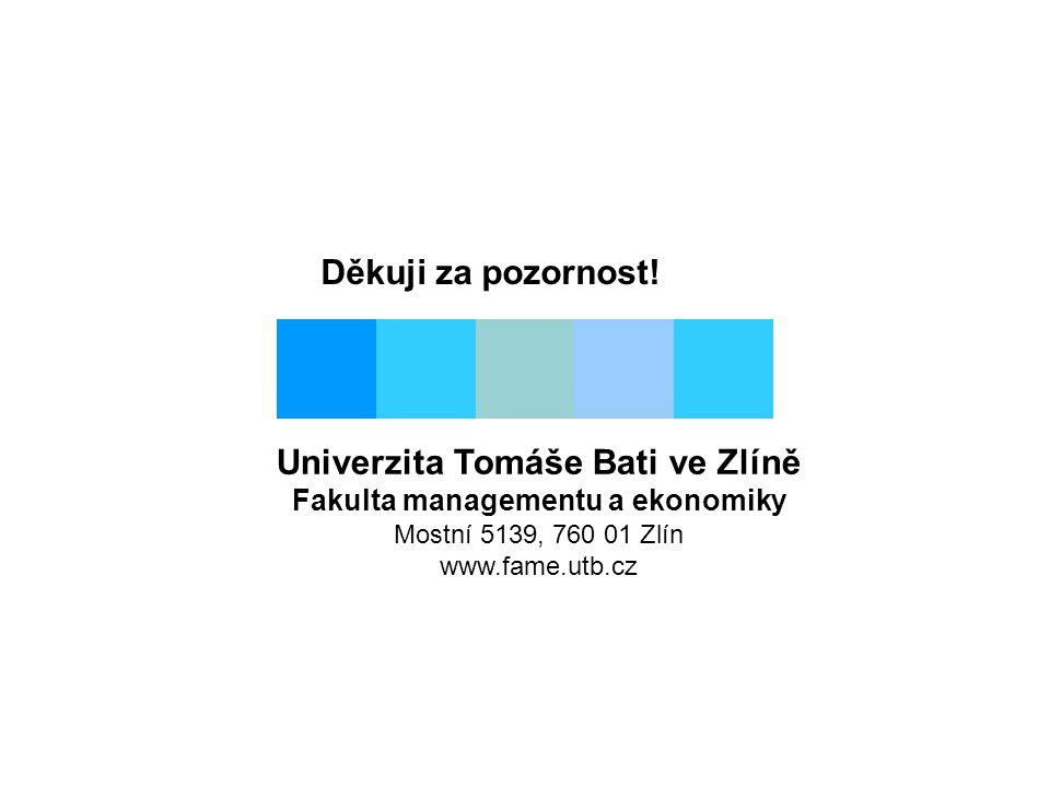 Děkuji za pozornost! Univerzita Tomáše Bati ve Zlíně Fakulta managementu a ekonomiky Mostní 5139, 760 01 Zlín www.fame.utb.cz