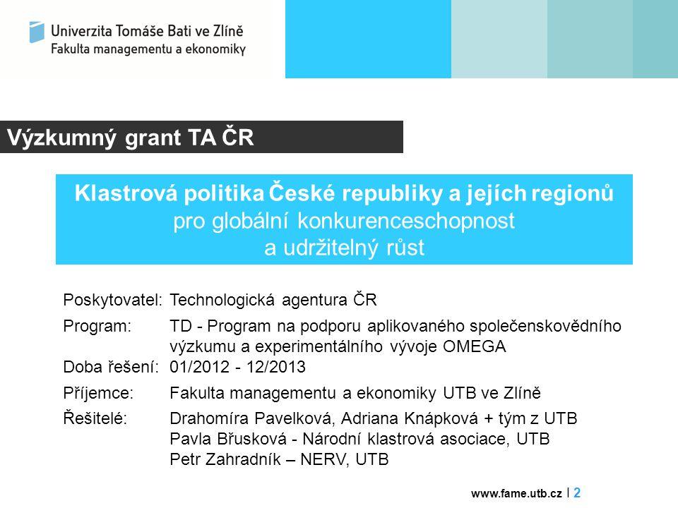 Výzkumný grant TA ČR Poskytovatel:Technologická agentura ČR Program: TD - Program na podporu aplikovanéhospolečenskovědního výzkumu a experimentálního