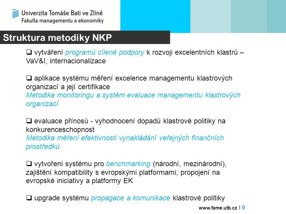 """Využití RKP v krajích  identifikace klastrového potenciálu v krajích  facilitace a inkubace klastrů a budování potřebných odborných personálních kapacit pro jejich rozvoj  podpora inovační kreativity v identifikovaných regionálních """"ohniscích inovací a VaV  začlenění regionální politiky zaměřené na klastry do programovacího období 2014 - 2020  zařazení kraje a jeho klastrů do specializované mapy klastrů s jejich inovačním potenciálem  strategie tvorby (udržení) pracovních míst  oborová profilace kraje – magnet pro investory  udržení talentů a kreativních pracovních sil www.fame.utb.cz I 10 Zohlednění priorit krajů"""