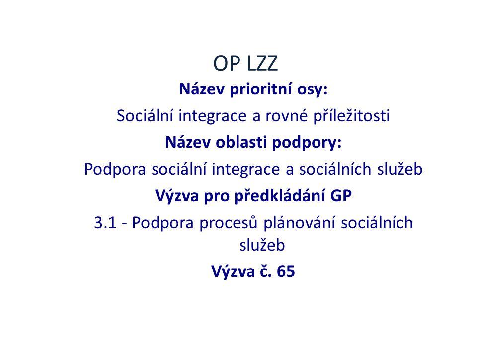 OP LZZ Název prioritní osy: Sociální integrace a rovné příležitosti Název oblasti podpory: Podpora sociální integrace a sociálních služeb Výzva pro předkládání GP 3.1 - Podpora procesů plánování sociálních služeb Výzva č.