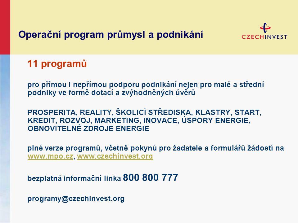 Operační program průmysl a podnikání 11 programů pro přímou i nepřímou podporu podnikání nejen pro malé a střední podniky ve formě dotací a zvýhodněný